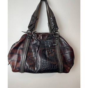 Francesco Biasia Leather Croc Satchel Brown